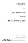 Guest Artist Recital: Elias Goldstein, viola