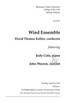 Wind Ensemble featuring Judy Cole, piano and John Warren, clarinet