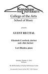 Guest Artist: Elizabeth Crawford, clarinet with Lori Rhoden, piano