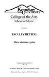 Faculty Recital: Mary Akerman, guitar