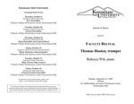 Faculty Recital: Thomas Hooten, trumpet and Rebecca Wilt, piano