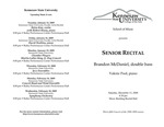 Senior Recital: Brandon McDaniel, double bass