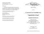 Capstone Lecture/ Recital: Appalachia in Song