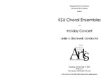 KSU Ensembles in a Holiday Concert by Leslie J. Blackwell