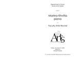 Faculty Recital: Marina Khvitia, piano by Marina Khvitia