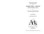 Faculty Recital: Joseph Eller, clarinet, David Watkins, piano and John Meisner, violin by Joseph Eller, David Watkins, and John Meisner