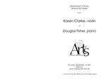 Faculty Recital: Karen Clarke, violin with Douglas Fisher, piano by Karen Clarke and Douglas Fisher