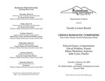 Faculty Lecture Recital: Creole Romantic Composers
