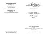Senior Recital: Sarah Heagy, piano