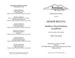Senior Recital: Matthew David Mattice, saxophone