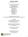 """An Evening with Friends"" Faculty Recital: Judith Cole, piano by Judith Cole, Nancy Conley, Helen Kim, Charae Krueger, John Lawless, Douglas Lindsey, Chani Maisonet, Marc Miller, Kenn Wagner, and John Warren"
