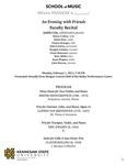 Faculty Recital: An Evening with Friends by Judith Cole, Nancy Conley, Helen Kim, Charae Krueger, John Lawless, Douglas Lindsey, Chani Maisonet, Marc Miller, Kenn Wagner, and John Warren